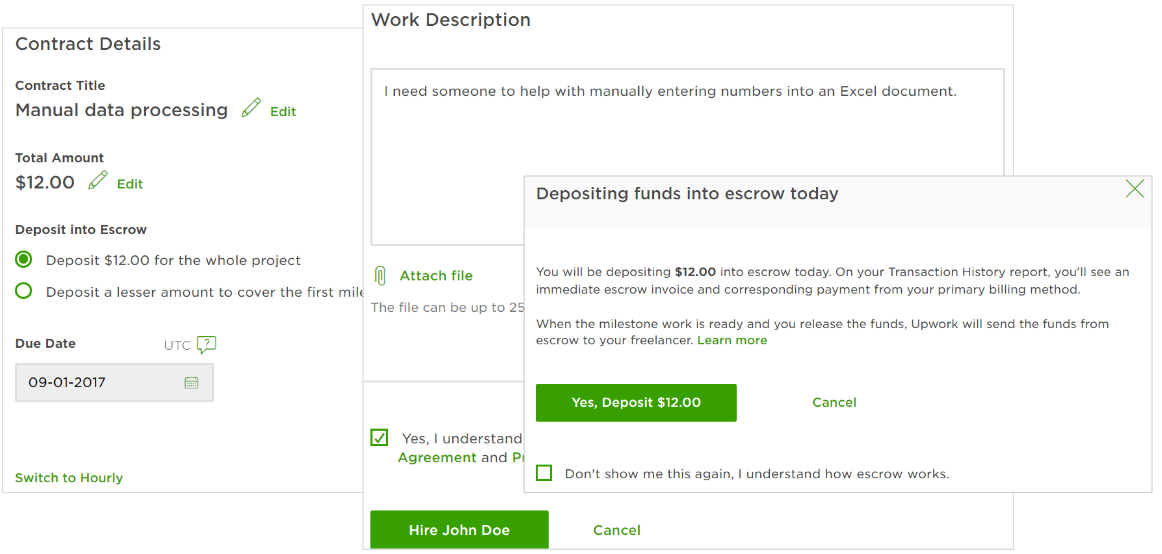fixed price job offer deposits upwork help center rh support upwork com Business Escrow Return of Escrow Money